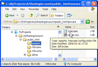 MyProjects\A2HostingAccount Working Folder with eoware\.htaccess for authoring (click for larger image) 