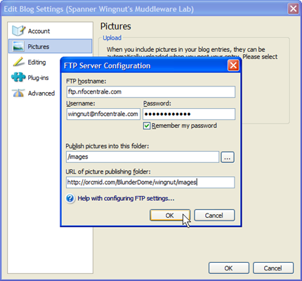 FTP Image Upload Settings for Windows Live Writer