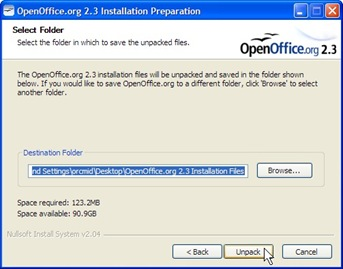 OO.o 2.3 Installation Folder Selection (click for larger image)