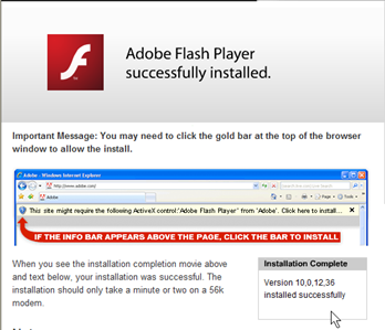 Flash Reports Successful Install (click for larger image)