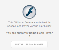 This particular CNN page reports that it detected Flash 0